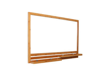 Mirror with 2 shelves natural bamboo 100X66CM