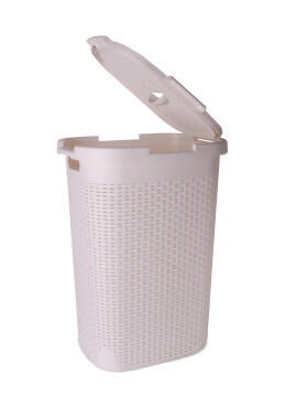 Laundry basket with lid Rattan SENSEA white 60L