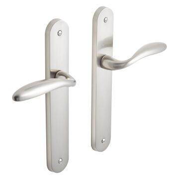 Door handles on plate keyless entry satin nickel finish agathe inspire