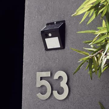 Wall light solar 6000k PIR black