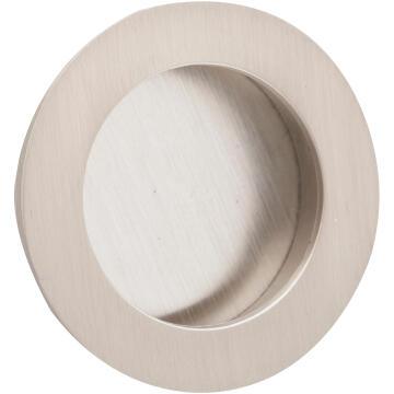 Cabinet flush handle brushed nickel round 40mm inspire