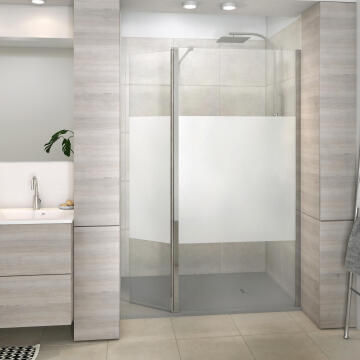 Shower deflector Remix chrome with 8mm printed glass 40x200cm