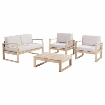 SOFA SET NATERIAL SOLARIS SOFA WITH 2 ARMCHAIRS AND COFFEE TABLE ACACIA