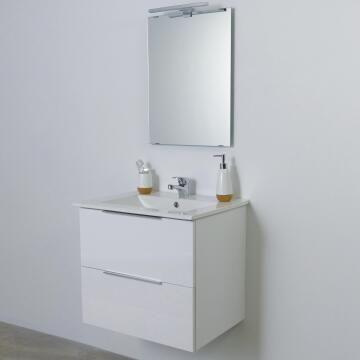 Single basin cabinet 2 drawer vanity with led mirror Essential glossy white 60cm ,CABINET AND MIRROR ONLY, BASIN SOLD SEPARATELY