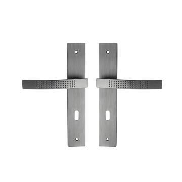 Door handles on plate cylinder key entry stipple matt grey finish louna 195mm inspire