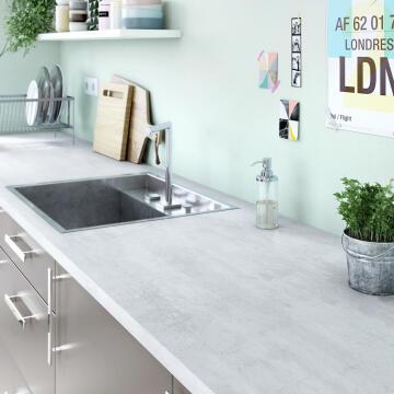 Kitchen worktop laminate concrete white L246XD63XT2.8cm water repellent treatment