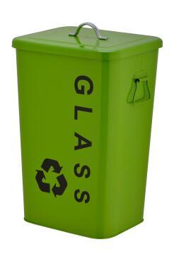 Kitchen metal bin 26L green