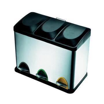 Kitchen pedal bin 15L*3 chrome