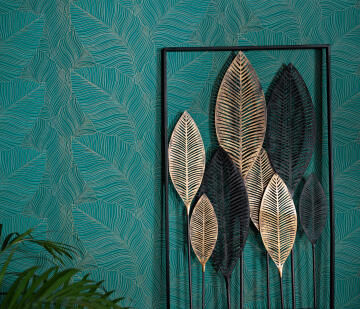 WALLPAPER FLORAL LEAVES TURQUOISE GOLD