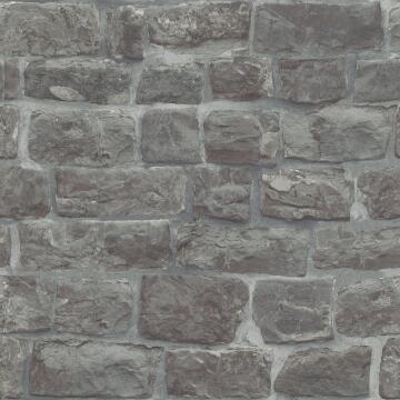 WALLPAPER BRICK GREY STONE 10MX53CM