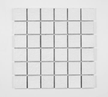 Mosaic Solid surface resin stone -5 x 5 cm - roll 100 x 50 cm - TE9010 White Textured
