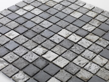 Mosaic natural stone - 2,5 x 2,5 cm -roll 100 x 50 cm - 952 Mixed Grey