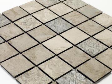 Mosaic natural stone - 5 x 5 cm -roll 100 x 50 cm - 951 Tan Beige / Copper / Slate