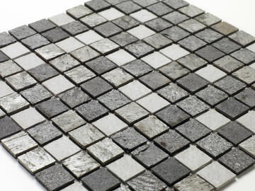 Mosaic Solid surface resin stone - 2,5 x 2,5 cm - roll 100 x 50 cm - 702 Light Grey & Slate