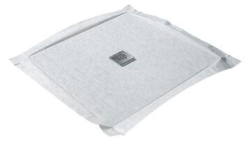 Shower tray to be tiled FLAT BOARD - 360° Trap centred - 100 x 100 cm