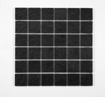 Mosaic Solid surface resin stone -5 x 5 cm - roll 100 x 50 cm - TE9005 Black Textured