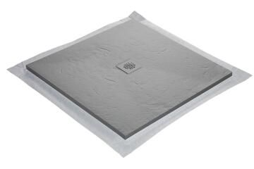 Shower Tray Slate Solid Surface - centered square grid trap - 90 x 90 cm - mole grey - 7037