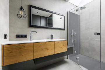 Shower Tray Slate Solid Surface - centered square grid trap- 90 x 90 cm - light grey - 7046