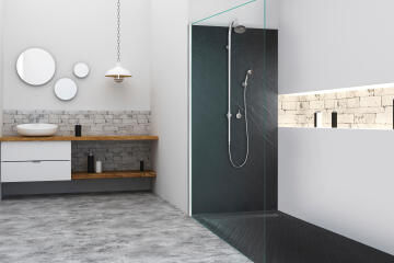 Designer wall panel - shower back in natural stone - 200 x 100 cm - graphite