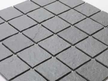 Mosaic Solid surface resin stone -5 x 5 cm - roll 100 x 50 cm - TE7037 Mole Grey Textured
