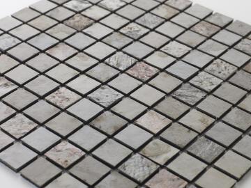 Mosaic natural stone - 2,5 x 2,5 cm -roll 100 x 50 cm - 951 Tan Beige / Copper / Slate