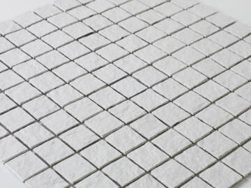 Mosaic Solid surface resin stone - 2,5 x 2,5 cm - roll 100 x 50 cm - TE9010 White Textured