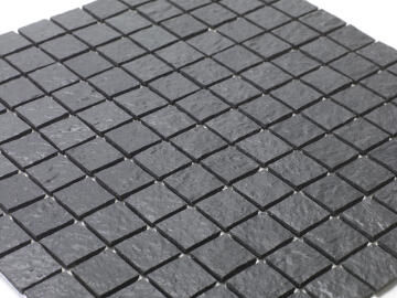 Mosaic Solid surface resin stone - 2,5 x 2,5 cm - roll 100 x 50 cm - TE7015 Slate Grey Textured