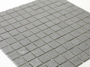 Mosaic Solid surface resin stone - 2,5 x 2,5 cm - roll 100 x 50 cm - TE7037 Mole Grey Textured
