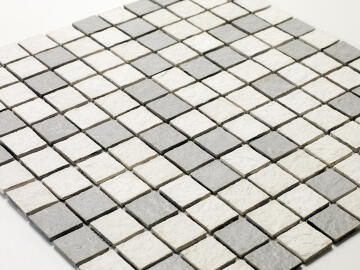 Mosaic Solid surface resin stone - 2,5 x 2,5 cm - roll 100 x 50 cm - 506 Nuances of White & Grey