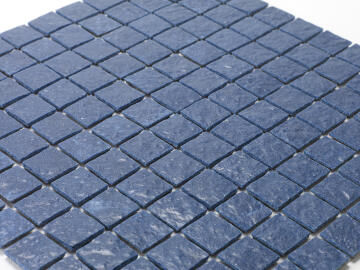 Mosaic Solid surface resin stone - 2,5 x 2,5 cm - roll 100 x 50 cm - 5003 Midnight Blue Textured