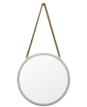 40CM ROPE MIRROR WHITE