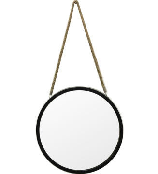 40CM ROPE MIRROR BLACK