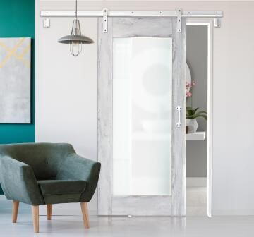 Interior Sliding Door kit with sliding mechanism Lockeport Frame with White Glass Panel-w930xh2050mm