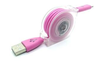 TYPE C USB CHARGE CABLE RETRACTABLE PINK