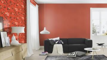 WALLPAPER PLAIN LINEN ORANGE 10.5MX53CM