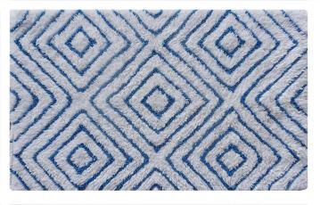Bath mat ractangle cotton SENSEA Rombo blue 50X80CM