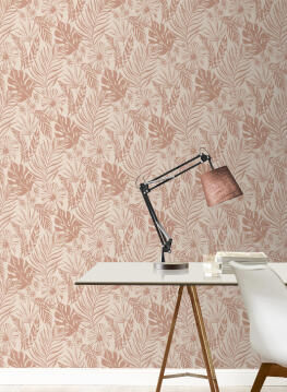 WALLPAPER LEAF PINK/ROSE GOLD 10.5MX53CM