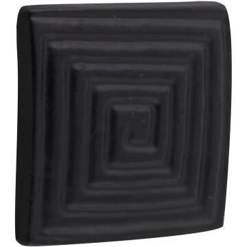 Cabinet knob square black iron 37x37mm inspire