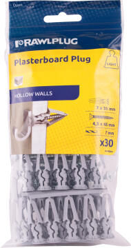 Drywall plastic toggles with screws 30pc rawlplug