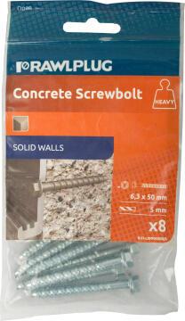 Concrete screw bolts 6.3x50mm R-LX hex and flange 8pc rawlplug