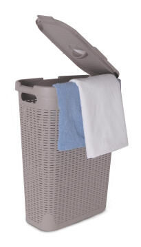 Laundry basket with lid Rattan SENSEA grey 60L