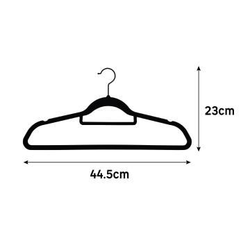Velvet hanger with rotative head, spaceo, set of 8, black