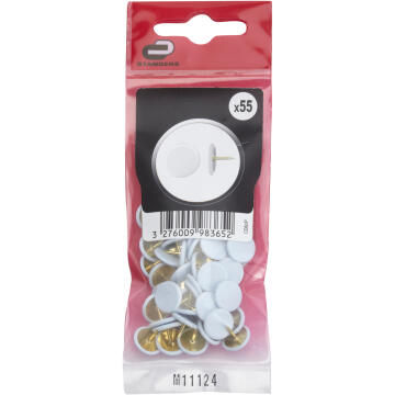 55P THUMB TACK STEEL, PVC COVER WHITE, POLYBAG