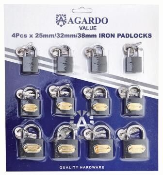 Padlocks iron pack of 12 agardo value