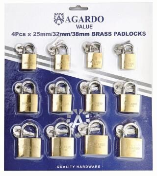Padlocks brass pack of 12 agardo value