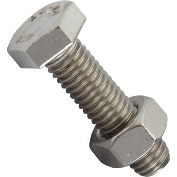 Bolt and nut hexagon head stainless steel 8.0x30mm 4pc standers