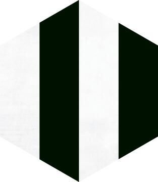 Hexagon Tile Ceramic Porto Black 220x250mm