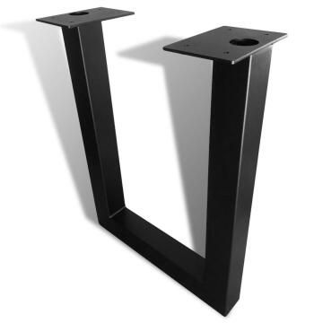 Table Leg Steel U Shape Square Tubing Black-h720 x w550mm
