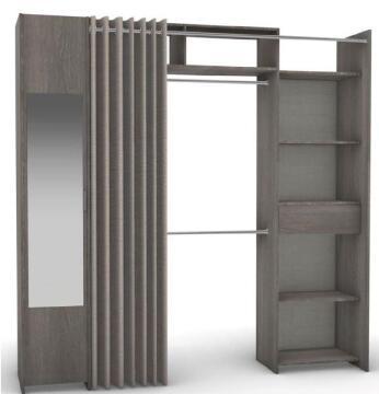 wardrobe 2 column,1/2 mirror cupboard with curtain
