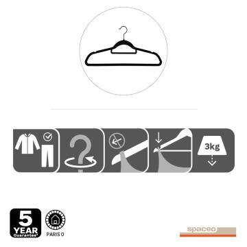 Velvet hanger with rotative head, spaceo, set of 4, black